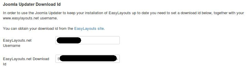 EasyLayouts config - entering download id and username